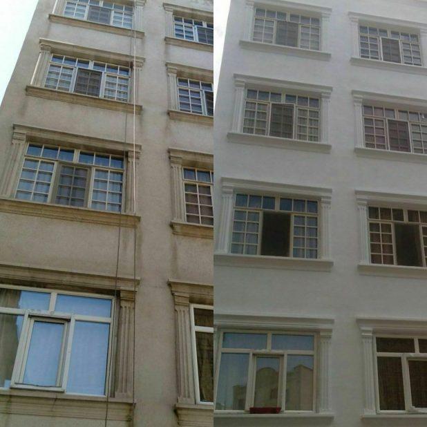 نقاشی نمای ساختمان با طناب